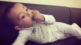 So cute! Salman Khan's nephew Ahil Sharma munches on his famous turquoise bracelet! (See pictures)