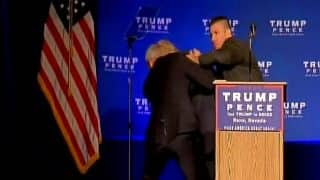 Security scare at Donald Trump's rally: Republican candidate moved off stage during Reno campaign, 1 man detained