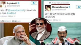 Mamata Bannerjee proclaims Narendra Modi's demonetisation of Rs 500 and Rs 1000 draconian, gets trolled on Twitter but Rajinikanth applauds the move