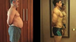 आमिर खान ने दंगल के लिए 37 किलो वज़न घटाकर बनाए 6 पैक एब्स, देखिये वीडियो