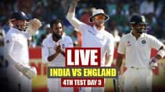 India vs England Live Cricket Score 4th Test Day 3 in Mumbai: IND 247/2 at Lunch