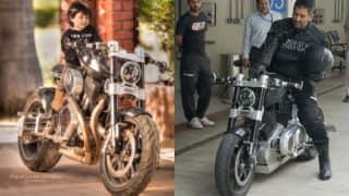 MS Dhoni vs Ziva Dhoni (in pictures): Bike lover Indian cricketer gets tough fight from his cute biker daughter!
