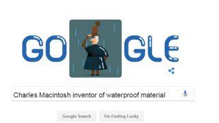 Google Doodle celebrates Charles Macintosh 250th birthday, inventor of waterproof material