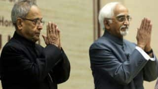 President Pranab Mukherjee, Vice President Hamid Ansari greet people on Eid-Milad-un-Nabi
