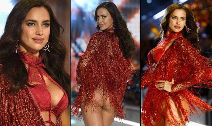 Wait, what! Pregnant supermodel Irina Shayk rocks the ramp in red racy ensemble at Victoria's Secret Fashion Show 2016