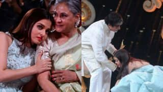 These Pictures of Aishwarya Rai Bachchan leaning on Jaya Bachchan's shoulders and touching Amitabh Bachchan's feet are going viral on Instagram!