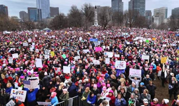 Women stage anti-Trump protests across US, thousands gather for the historic march