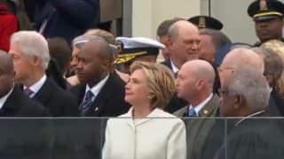 Hillary Clinton attends Donald Trump's swearing-in ceremony