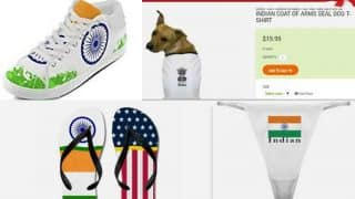 Indian Flag underwear, shoes, slippers available on Amazon & CafePress! Sushma Swaraj to help ban these 6 products insulting the National Flag?