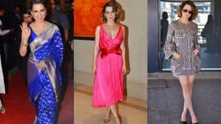 Kangana Ranaut promotes Rangoon and outwits us with her vibrant blue, pink and monochrome chic styles!