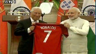 Portugal PM António Costa gifts PM Narendra Modi jersey of Cristiano Ronaldo