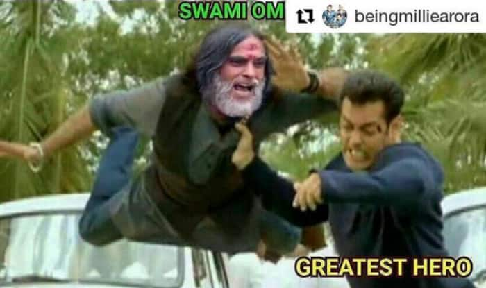 Bigg Boss Funny Meme : Salman khan beating swami om picture is our new favourite bigg boss