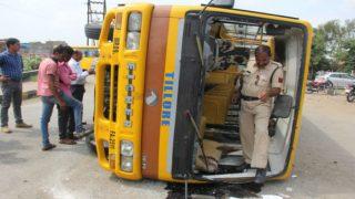 School bus overturns in Mathura, over 40 kids injured
