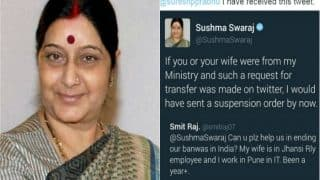 For first time Sushma Swaraj loses her cool on this request by a husband; Here is why
