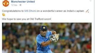 Manchester United celebrate Mahendra Singh Dhoni's successful captaincy
