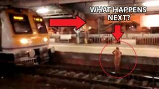 Mumbai locals: Old woman walks on railway track as train approaches. What happens next will leave you shocked
