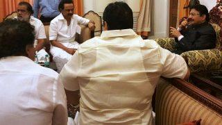 DMK's M K Stalin meets Governor C. Vidyasagar Rao, to protest at Marina beach