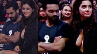 Disha Patani cleavage flashing hot dress ogled at by this guy at Jio Filmfare Awards 2017! Pictures go viral