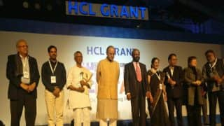 Arun Jaitley felicitates the winners of HCL Grant 2017