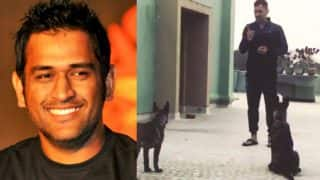 MS Dhoni Teach Some Skills of 'Mirror Game' to his Pet Dog Sam, Watch Video