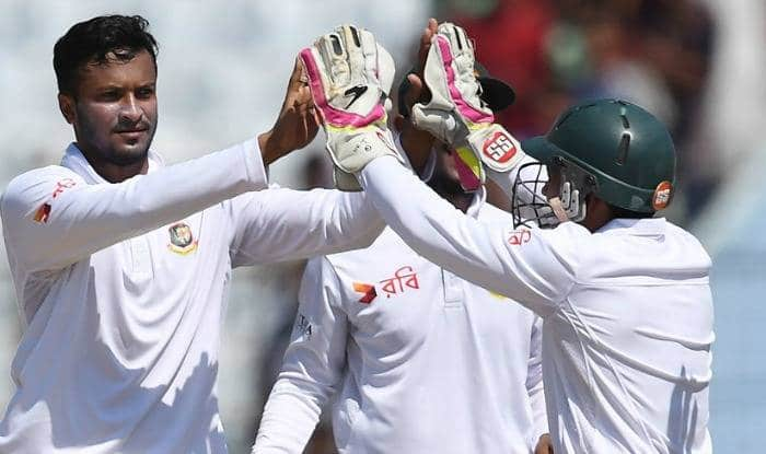 File photo of Bangladesh allrounder Shakib Al Hasan celebrating with skipper and wicketkeeper Mushfiqur Rahim.