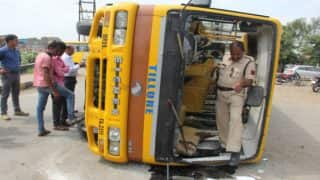 School bus turns over, children rescued by passing BSF men