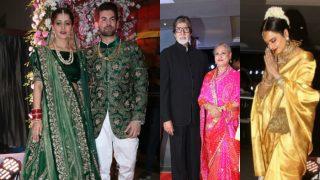 Neil Nitin Mukesh-Rukmini's Mumbai wedding reception Pics: Rekha, Amitabh, Jaya Bachchan and other guests posed with newly weds