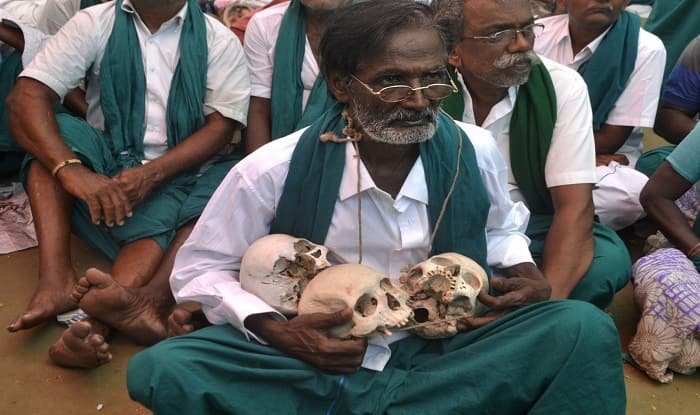 Drought-hit Tamil Nadu farmers stage dramatic protest with skulls