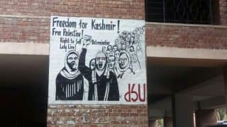 'Freedom for Kashmir' poster put up in JNU campus; varsity administration takes down controversial sign
