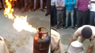 Video of cop demonstrating 'how to douse fire' caused by leaking LPG cylinder goes viral