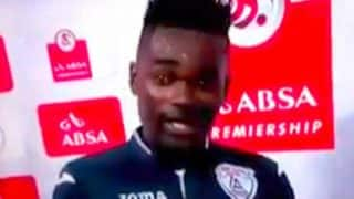 Watch: Footballer thanks both his wife and girlfriend during man of the match speech; covers up instantly!