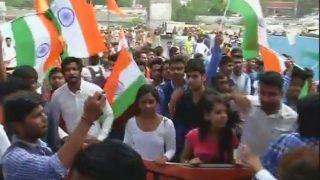 ABVP carries out Tiranga march in Delhi University South Campus, raises Vande Mataram slogans
