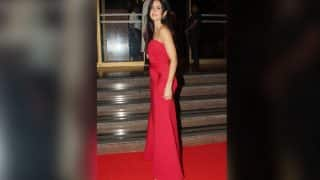 Katrina Kaif flaunts a svelte figure in a plunging red gown at the Hello! Hall Of Fame Awards 2017!