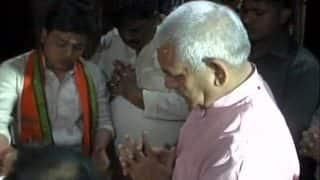 Manoj Sinha offers prayers at Kaal Bhairav Temple in Varanasi ahead of UP CM announcement today