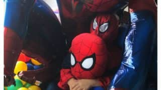This picture of AbRam as spiderman is the most adorable thing you will see today