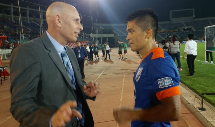 File photo of Sunil Chhetri (right) speaking to coach Stephen Constantine. (Twitter: Indian Football Team)