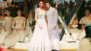 Shah Rukh Khan and Anushka Sharma look elegant as they walk the ramp for Manish Malhotra at Mijwan Fashion Show 2017