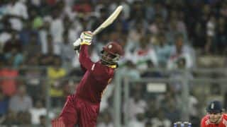 England vs West Indies, 5th ODI: Chris Gayle Destroys Jake Ball with Four Successive Sixes