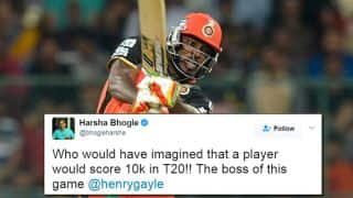 Chris Gayle becomes first batsman to reach 10,000 runs in T20 cricket: Twitter fans erupt in joy!