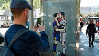 Lionel Messi, Cristiano Ronaldo kissing graffiti causes stir ahead of El Clasico