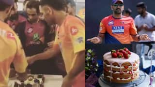 MS Dhoni offering cake to RPS team post VIVO IPL 2017 match win is basically all of us! Watch video