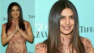 Priyanka Chopra ups the glamour in a J Mendel body hugging gown for Harper's Bazaar's 150th anniversary party! View Pictures