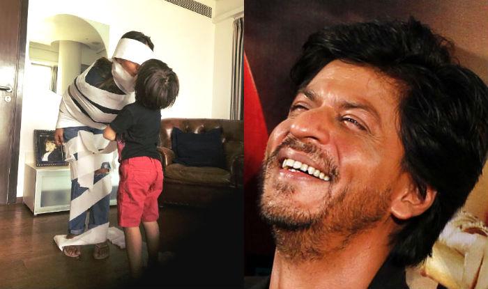 Image result for shahrukh khan,spider man,gouri khan,mummy,abram khan,bollywood,