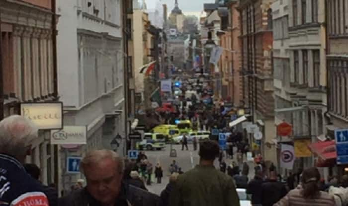Truck rams into crowd in Stockholm