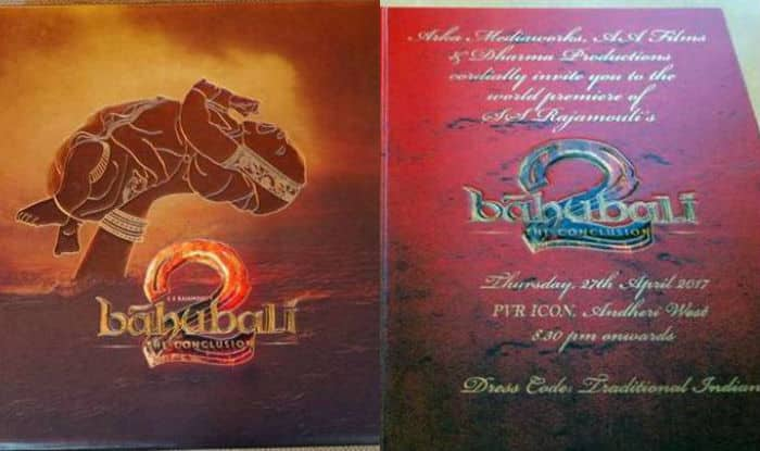Baahubali Grand Premiere Invitation Card Redefines The Meaning - Meaning of birthday invitation in hindi