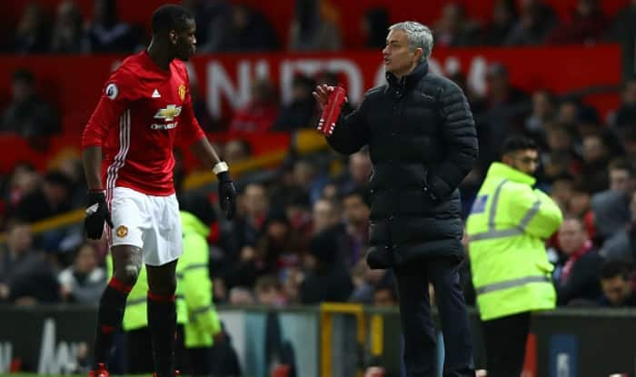 Manchester United manager Jose Mourinho with Paul Pogba. (Getty Image)