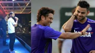 Virat Kohli wishes Sachin Tendulkar by singing Happy Birthday along with fans in packed stadium! Watch viral video