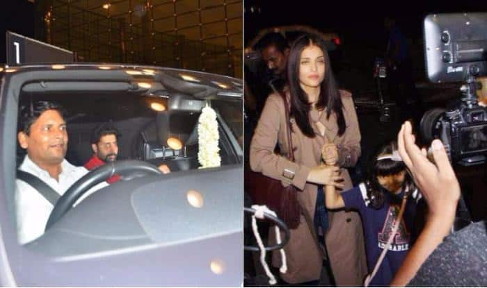 Aaradhya poses for camera as she leaves for Cannes with mom Aishwarya