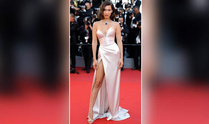 Bella Hadid Wears Pink Silk Gown to the Cannes Film Festival