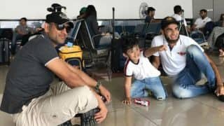 MS Dhoni sitting down with Imran Tahir's son at airport is the most adorable sight of VIVO IPL 2017! See cute video